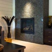 fireplace inside of custom built home