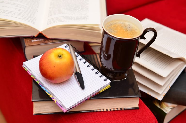 books with coffee and apple