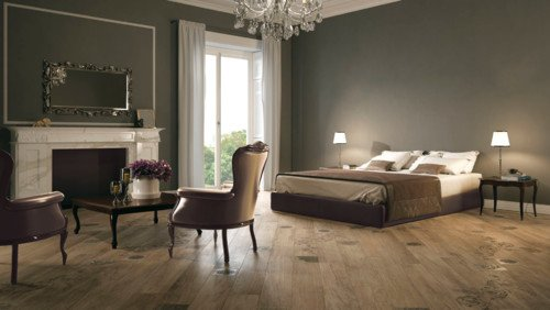 wood look porcelain tile bedroom floor