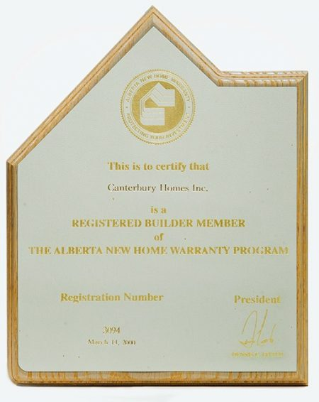 Registered Member of The Alberta New Home Warranty Program